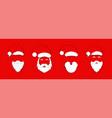 santa claus hat with beard set christmas vector image