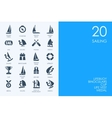 Set of BLUE HAMSTER Library sailing icons vector image