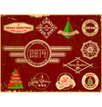 Set of Christmas vintage labels vector image