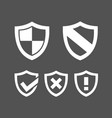 set of protection shield icons on a dark vector image