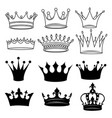 set stylized crowns collection black and vector image