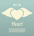 Single Heart Wings With Halo Symbol vector image vector image