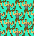 Sketch circus strongman in vintage style vector image vector image