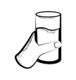 sketch of a hand holding a water glass vector image