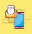smartphone email message letter sending vector image vector image