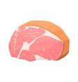 smoked ham isolated piece of delicious pork bacon vector image vector image