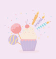 sweet cupcake candles and candies party decoration vector image vector image