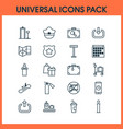 traveling icons set collection of pilot hat vector image vector image