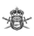 vintage serious gorilla head in crown vector image vector image