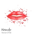 Watercolor painted red lips vector image vector image