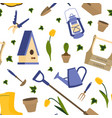 with gardening tools vector image vector image