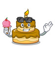 with ice cream birthday cake character cartoon vector image