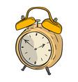 yellow retro alarm clock sketch vector image vector image