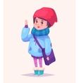 Funny of schoolgirl or student vector image
