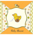 baby shower card with duck toy vector image vector image