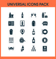 beverages icons set with bottle of beer glasses vector image
