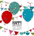 Birthday wish with bunting flags and balloons in vector image