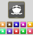 boat icon sign Set with eleven colored buttons for vector image vector image