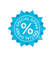 bright blue retro sale badge sign on white vector image vector image