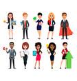 business people set ten cartoon characters vector image