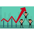 Business team holds in hand to raise the graph vector image vector image