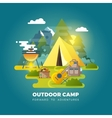 camping background with tourist tent vector image vector image