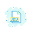 cartoon colored pdf download icon in comic style vector image vector image