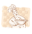 chef cook - doodle card vector image vector image