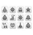 Christmas buttons with stroke - Xmas tree present vector image vector image