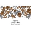 christmas holiday hand drawing poster christmas vector image