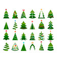 christmas tree color set vector image vector image