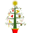 Christmas tree with symbols and decorations vector image vector image