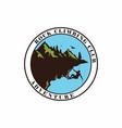 circle mountain climbing logo design vector image vector image