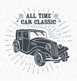 classic car vintage label hand drawn sketch vector image vector image