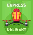 drone with gift box drone delivery present vector image