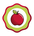 emblem sticker red apple fruit icon stock vector image vector image