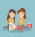 emergency doing cardiopulmonary resuscitation vector image vector image