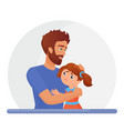 father supporting sad daughter flat vector image