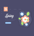 flowers with green leaves spring season template vector image
