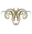 Girl with horns of a ram drawn in tattoo style vector image vector image