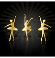 gold ballerinas dancing on stage vector image