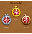 gold silver and bronze old amulet with jewel vector image vector image