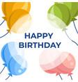happy birthday greeting cartoon card with balloons vector image
