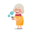Happy Old Woman Using Smart Phone vector image vector image