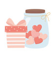happy valentines day striped gift box and jar vector image vector image