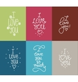 I love you hand drawn lettering inscription set vector image