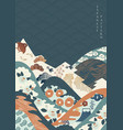 japanese pattern with camellia flower mountain vector image
