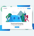 landing page template travel and camping vector image