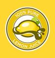 lemon juice label vector image vector image