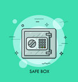 metallic safe box with closed door and buttons of vector image
